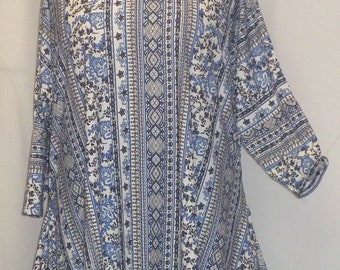Womens Plus Size Top, Coco and Juan, Lagenlook, Plus Size, Blue Mosaic Print Drape Side, Plus Size Tunic Top, One Size Bust  to 60 inches