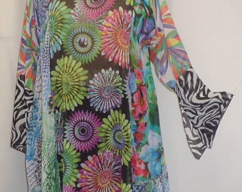 Coco and Juan, Plus Size Tunic, Lagenlook, Mixed Print Chiffon,  Asymmetrical Plus Size Tunic Top, Size 1 (fits 1X,2X)   Bust 49 inches