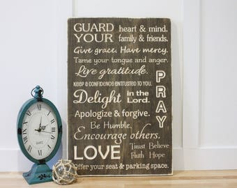 Guard Your Heart House Rules Family Rules Christian Wood Subway Sign - 16x24 Shabby Chic Handpainted Carved Engraved Rustic Wooden Sign