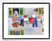 Laundry Room Art Print Watercolour art, Laundry artwork, Italian laundry clothes line art print, Watercolor painting, Travel art print, 2