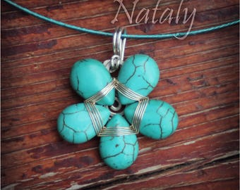 Turquoise Necklace for Women, Wire Wrapped Flower Necklace for Women, Sterling Silver Choker Necklace for Women, Blue Necklace for Woman