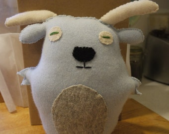 Blue Goat Softie made from upcycled recycled cashmere sweater soft and comforting!