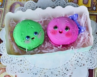 Set of 2 funny macarons - art dolls, cookies, macaron , art toy, tea party, fantasy pets