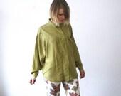90s olive silk shirt. light green shirt. slouch silk shirt. unisex - medium, large, xl