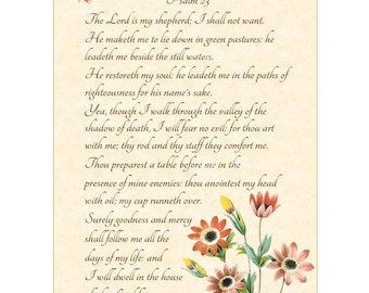 THE SHEPHERDS PSALM - Psalm 23 Christian Home Decor Vintage Verses Calligraphy Wall Art Parchment 8x10 Inspirational Wall Art Scripture Art