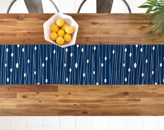 Navy Geometric Table Runner // Table Linens // Kitchen Decor // Entangled Navy Design // Minimalist Geometric // Table Decoration // Lines