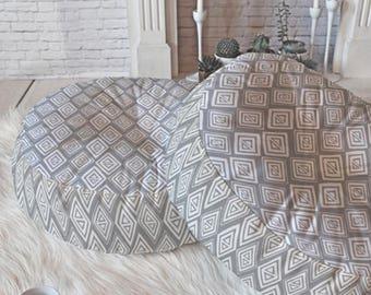 Grey Floor Pillow // Round and Square Sizes // Modern Geometric // Diamond In The Rough Design // Tribal Print // Boho Style // Dorm Decor