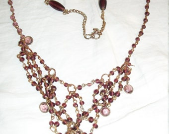 1920s Style Flapper Necklace Lacey Tassle Amethyst Glass Beads Rhinestones Brass Chain Very Unique Art Deco