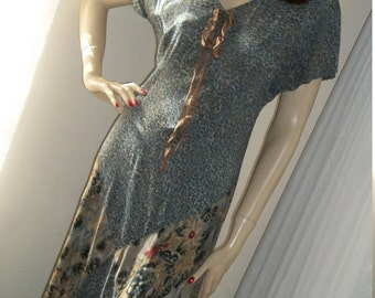 Vintage 1930s Style Replica Rayon Floral Dress Size S/M Saint Tropez West aka Carole Little