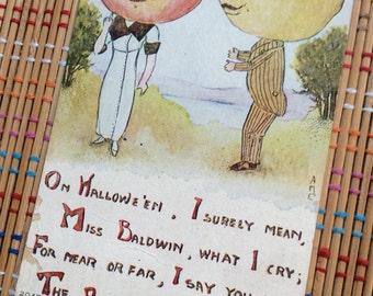 "Anthropomorphic ""Apple of My Eye"" Courting Couple: Vintage Halloween Postcard, R"