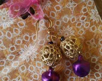 SALE Earrings by Kolibrikado - promise of the East gold balls and purple bells