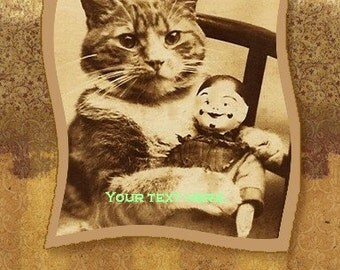 Instant Download 4x6 of Vintage Print of Cat with doll for Thank You Card, mixed media
