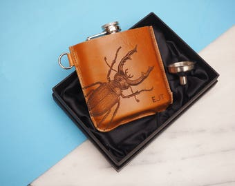 Stag Beetle Personalised Leather Hip Flask, Gifts for Dad, Personalised Hip Flask, Gift For Men, Anniversary, Daddy, Brother, Brother in law