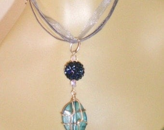 Serinity Blue Lucite Wire Wrapped Baroque Chunky Serenity Blue Bead Necklace & Earring Set Rhinestone Covered AB Beads