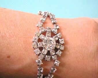 KRAMER Bracelet, Vintage KRAMER Jewelry, Bridal Bracelet, Rhinestone Cuff, Deco, Delicate Bracelet, Diamante, Wedding, Rhinestone Bracelet