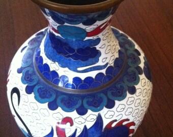 Vintage Dragon Cloisonne Blue White Vase, Asian Cloisonne Vase, Asian Dragon Vase, Asian Design Cloissone Enamel on Brass, Asian, *USA ONLY*