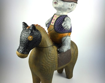 S&M Haniwa Bandito Horse Rider Cowboy Mask Onsie Polka Dot Brown Vest Purple Lasso Baby Chubby Spike Equestrian Equus Trot Tongue Buttons
