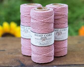 Pink Hemp Cord, 1mm,  205 Feet Spool,    Hemp Twine, String, Pink Twine, Hemptique, Vintage Pink -T19