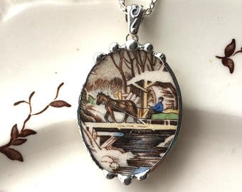 Broken china jewelry - snowy farm scene horse wagon bridge river - broken china jewelry pendant necklace, porcelain china pendant