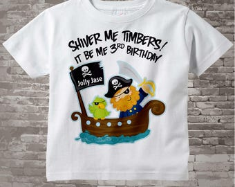 Third Birthday Pirate shirt - Pirate 3rd birthday shirt - Gift for 3 year old boy - Pirate Theme party outfit - Birthday gift (01042011a)