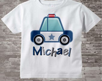 Boy's Police Shirt, Personalized Police Car Shirt, Policeman Shirt or Onesie with childs name 12192011a