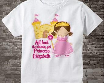 4th Birthday Shirt, Brown Haired Princess Fourth Birthday Shirt, Personalized Cute Princess Birthday Girl Tee Shirt 03282014g