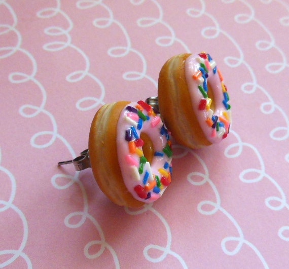 Polymer Clay Strawberry Frosted With Rainbow Sprinkles Doughnut Stud Post Earrings