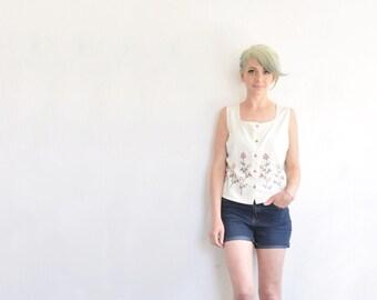 boho folk embroidered linen top . sleeveless farm country girl blouse .medium .sale s a l e