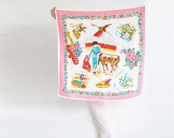 vintage Tijuana Old Mexico scarf . Ensenada bull fighter with GLITTER . neck tie accessory .sale