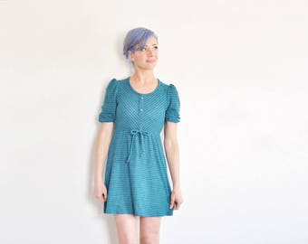 1970 chevron stripe mini dress . teal green puff sleeve summer dress .extra small.xs .sale
