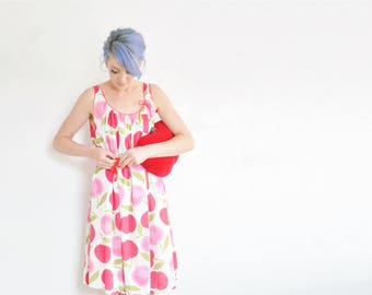 rare APPLE print slip dress . mod 1960 kawaii fruit pattern nightgown .large .sale