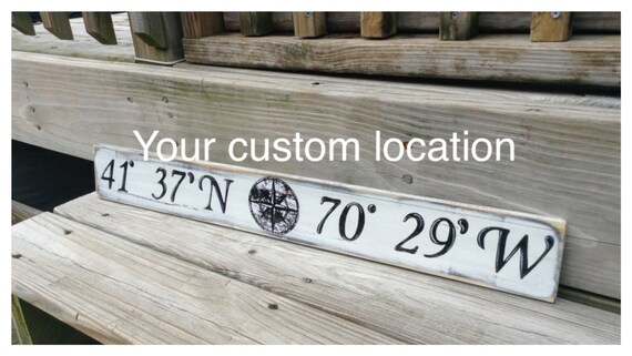 Beach Nautical Custom Sign Latitude and Longitude  Wall Decor Vintage Style Nursery