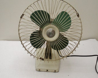 Vintage Green Blade Electric Fan - Works