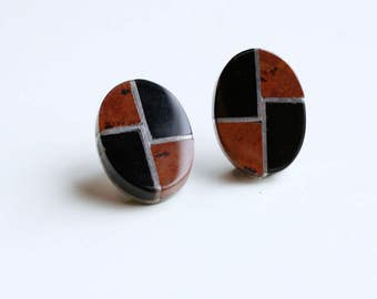 1980s Mexican stone inlay geometric button earrings / 80s vintage sterling silver rust red jasper and onyx inlaid stone oval pierced Mexico