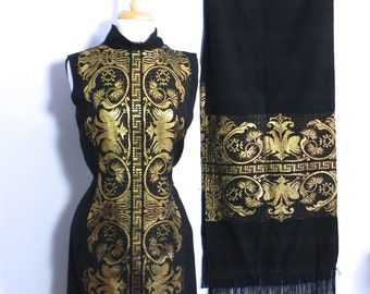 Vintage Gold Embroiderd Black Linen Dress with Matching Shawl Wrap Med Lg - on sale