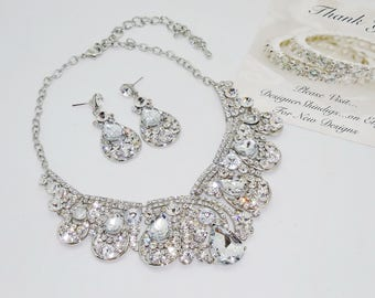 Chunky Rhinestone Statement Bridal Bib Necklace and Earring Set Clear Crystal Silver