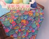 """Blue Easter Egg Table Runner 54"""" Reversible Colored Easter Eggs Table Runner Decorated Easter Egg Table Runner Blue Green Eggs Table Runner"""