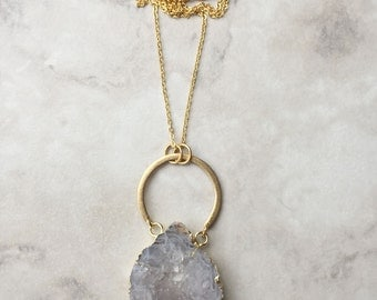 Geode Necklace | Gold Plated | Pendant Necklace