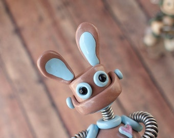 Robot Bunny Mini Sculpture EASTER GEEK DECOR Nerd Rabbit Art