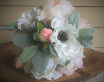 Blush pink peony and ivory anemone artificial silk keepsake bridal bouquet, faux flower bouquet, silk bouquet, artificial flower bouquet