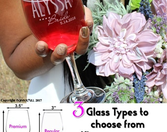 Personalized Bridesmaid Glasses, Wedding Party Gifts for Bridesmaids, Wedding Party Gift, Maid of Honor Gift, Bridal Party Favors