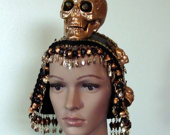 Black and Gold Skull  Headpiece Helmet One of a Kind Mardi Gras Cosplay New Year's Halloween Handmade Ready to Ship