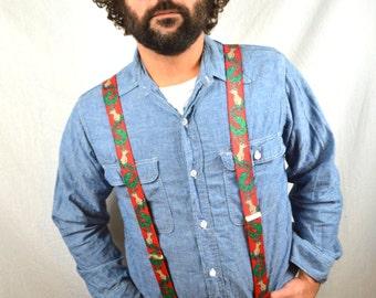 Vintage Reindeer Christmas Holiday Party Suspenders