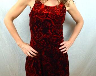 Vintage 90s Red Velvet Slinky Floral Mini Dress