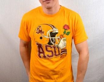 Vintage 1987 ASU Arizona State University Rose Bowl 80s Yellow Tee Shirt Tshirt