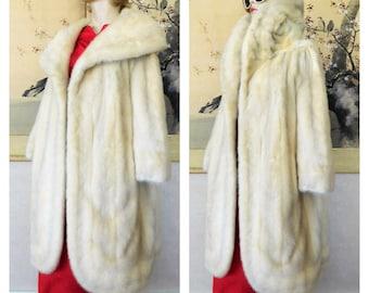 Vintage Tourmaline Mink Fur Clutch Coat Huge Collar Ivory Gray Green Silk Lining