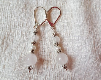 Rose Quartz and Freshwater Pearl Earrings