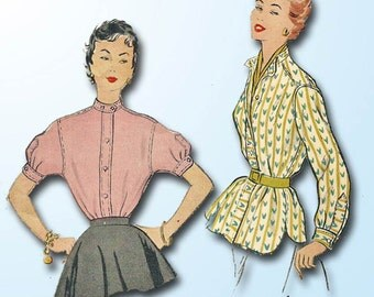 1950s Vintage McCalls Sewing Pattern 9840 Classic Misses Shirt or Blouse Sz 32 B