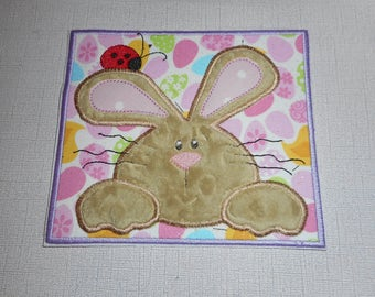 Easter Bunny with the lady bug  ready to ship free shipping Machine Embroidery iron on applique