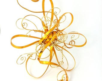 Gold Spring Swirl Flower Tree Topper- metal golden abstract wire decoration - Christmas Tree Topper -m/l , spring swirl